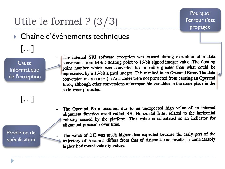 Utile le formel (3/3) Chaîne d'événements techniques […]
